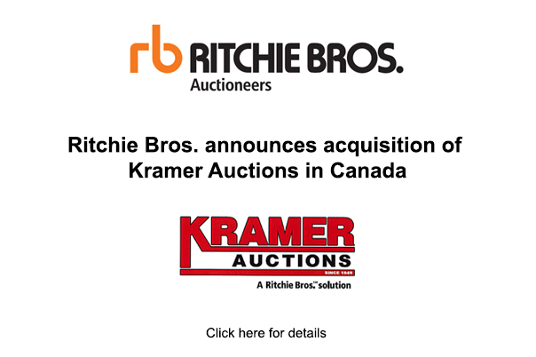 Ritchie Bros. announces acquisition of Kramer Auctions in Canada